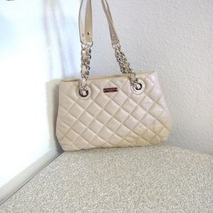 Kate Spade NY Cream Quilted Pebbled Leather Bag